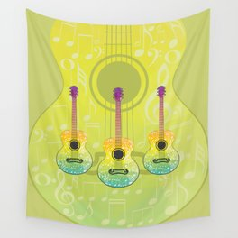 Polygonal guitar silhouette Wall Tapestry