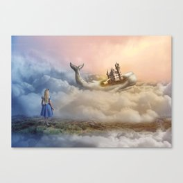Lost in a Wonderful Dream (Girl, Wale, Castle) Canvas Print