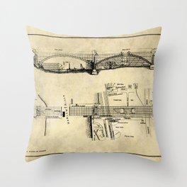 George Washington Bridge Construction Blueprint Throw Pillow
