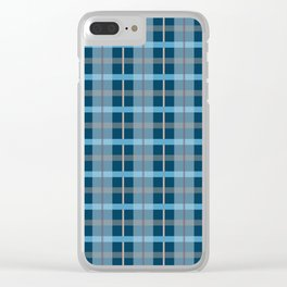AFE Blue Plaid Pattern Clear iPhone Case