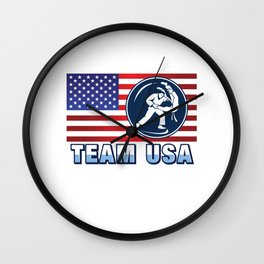 Team USA Judo Fighter American Flag Martial Arts Japanese Sports Gift Design Wall Clock