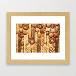 Bread baking rolls and croissants background Framed Art Print