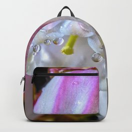 Raindrops on a blueberry flower Backpack