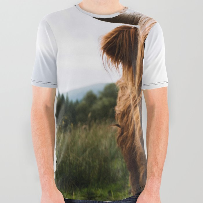Scottish Highland Cattle in Scotland Portrait II All Over Graphic Tee