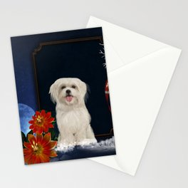 Cute little havanese puppy with flowers Stationery Cards