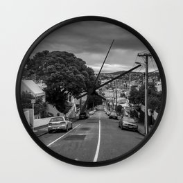 City Street On A Hill Wall Clock