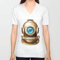 underwater V-neck T-shirts featuring Underwater by Texnotropio