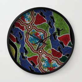 Aboriginal Art Authentic - Walking the Land Wall Clock