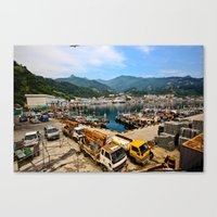 korean Canvas Prints featuring Korean Seaport  by Wandering Lyzka