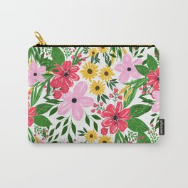 Cute Pink Red Spring Floral Hand Paint Design Carry-All Pouch