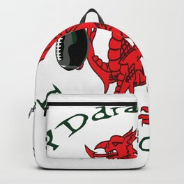 The Red Dragon Inspires Action Green Text Backpack