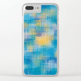 blue and yellow plaid pattern abstract Clear iPhone Case