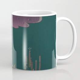 Pink Cloud over the April Super Moon in a City with Green Background Coffee Mug