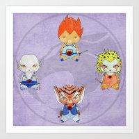 thundercats Art Prints featuring A Boy - A Girl - Thundercats by Christophe Chiozzi