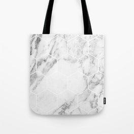 White marble hexagonal beehive Tote Bag
