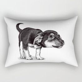 Cute cautious puppy wagging it's tail. Rectangular Pillow