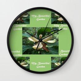 Garden _White Magnolia in May Wall Clock