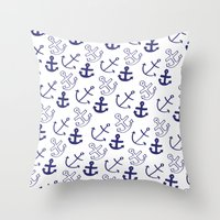 anchors Throw Pillows featuring Anchors by Sarah Liddell