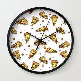 Cute Smiling Happy Pizza Pattern on white background Wall Clock