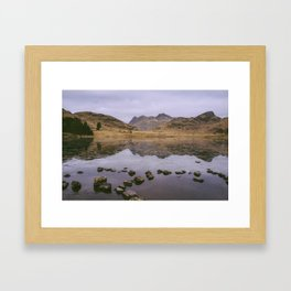 langdale pikes and a frozen blea tarn in winter. lake district, uk Framed Art Print
