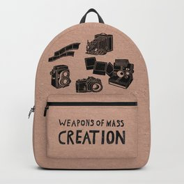 Weapons Of Mass Creation - Photography (blk on brown) Backpack