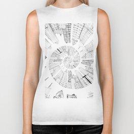 black and white city spiral digital painting Biker Tank