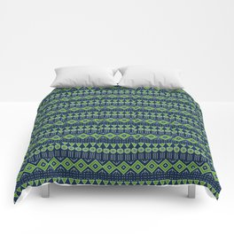 Mudcloth Style 2 in Navy with Lime Green Comforters