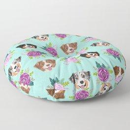 Australian Shepherd dog breed dog faces cute floral dog pattern Floor Pillow