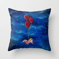 hogwarts Throw Pillows featuring To Hogwarts! by Sarah Page