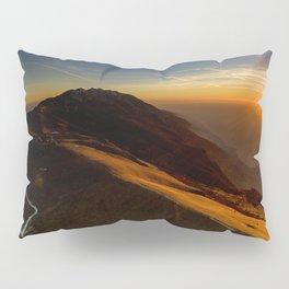 monte baldo garda lake italy drone shot aerial view sunset mountains dust path Pillow Sham