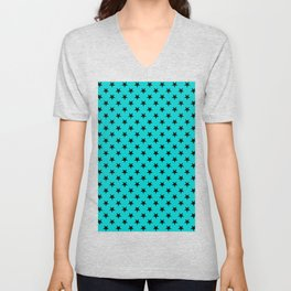 Black on Cyan Stars Unisex V-Neck