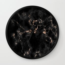 Rose Gold and Black Marble Wall Clock