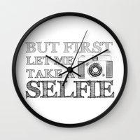 selfie Wall Clocks featuring SELFIE by Laura Maria Designs