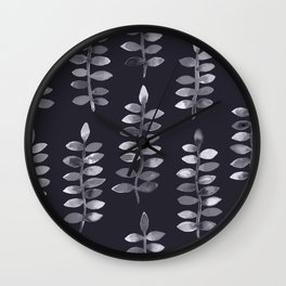 Black and white watercolor plants Wall Clock