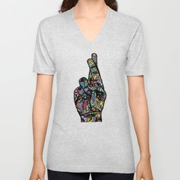 Psychedelic Fingers Crossed Trippy Hippie Hand Watercolor Art Unisex V-Neck