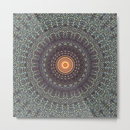 Sun Circle Bohemian Geometric Thread Weave Pattern Original \\ Yellow Gray Blue Purple Color Scheme Metal Print