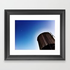 WATER TOWER AND THE MOON Framed Art Print