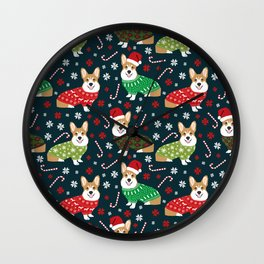 Corgi christmas sweater ugly sweater party with welsh corgis dog lovers dream christmas Wall Clock