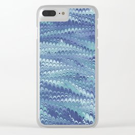 Marbled Non-pareil Light Blue & Cyan Clear iPhone Case