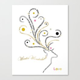 Typographic Reindeer Love - White Canvas Print