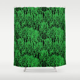Cascading Wisteria in Green + Black Shower Curtain