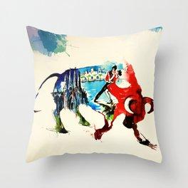Spain Bull Vintage Travel Love Watercolor Throw Pillow