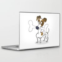 jack russell Laptop & iPad Skins featuring Jack Russell by drawgood