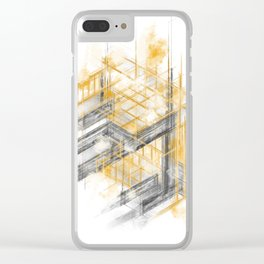 Techtonic grid Clear iPhone Case