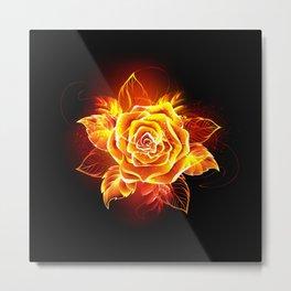 Blooming Fire Rose Metal Print