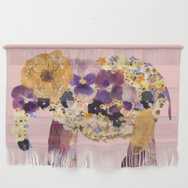 Floral Elephant - pink Wall Hanging