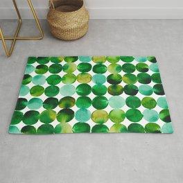 Green Watercolor Circles Pattern Rug
