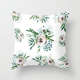 Blush Floral Throw Pillow
