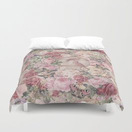 Romantic Flower Pattern And Birdcage Duvet Cover