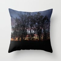 rileigh smirl Throw Pillows featuring Rainbow Sunset by Rileigh Smirl
